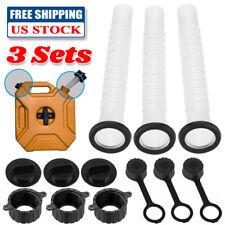 3 Sets Replacement Gas Can Spout Parts Kit Rubbermade Gasket Vent Cap Fuel Jug