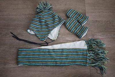 KöStlich 4 Teiliges Set Mütze, Handschuhe Und Schal Blau/grün Gestreift , H Und M