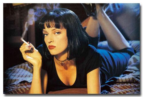 """Pulp Fiction Movie Silk Poster Uma Thurman Tarantino smoking 13x20/"""" 24x36/"""""""