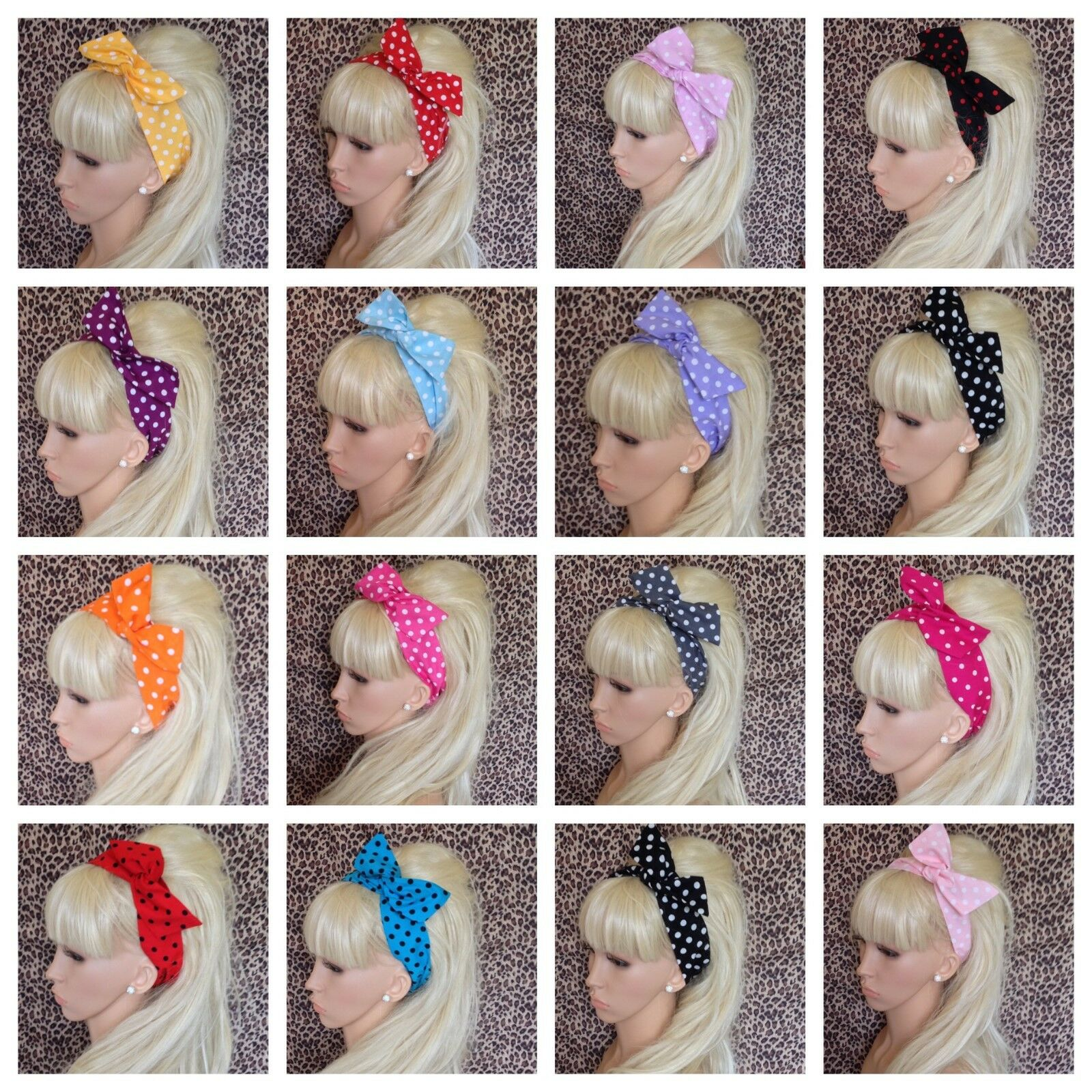 Ladies Red White Polka Dot Headband 60/'s Spotty Bow Hair Accessory Holder Band