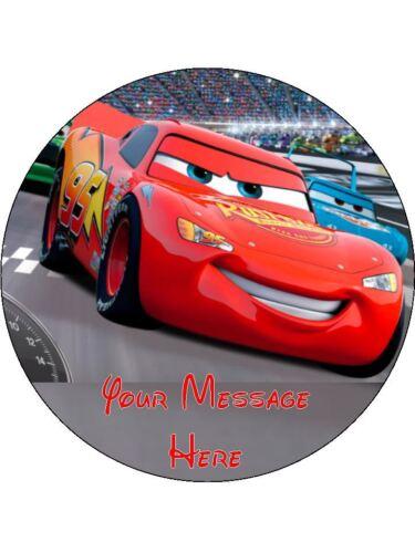 "Disney Cars 3 Personnalisé Anniversaire Comestible Cake Topper 7.5/"" Round #2"