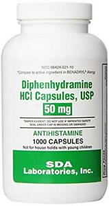Diphenhydramine 50mg Capsules by SDA Labs 1000ct