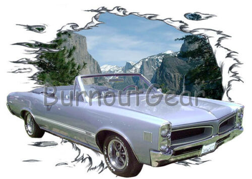 1966 Blue Pontiac Sprint Convertible HotRod Mountain T-Shirt 66 Muscle Car Tees
