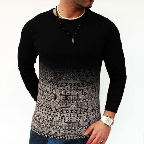 Herren T-Shirt Longshirt Fashion Rundhals Party Schwarz