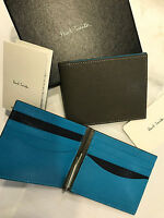Paul Smith Neon Blue Money Clip Wallet 8x Credit Card Billfold Taupe/blue