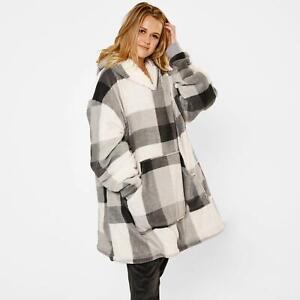 Dreamscene Check Hoodie Blanket Giant Wearable Sherpa Oversized Sweatshirt, Grey