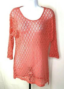 Chico-s-Women-s-3-4-Sleeve-Shirt-Size-1-Pink