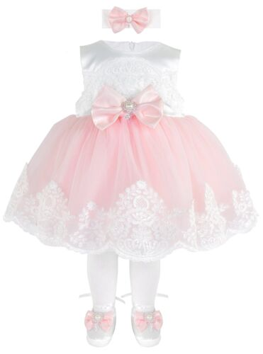 T.F Taffy Taffy Baby Girl Newborn Pink Embroidered Princess Pageant Dress Go...
