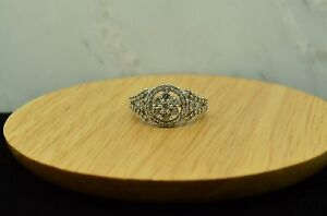 10K-WHITE-GOLD-ROUND-DIAMOND-CLUSTER-RING-BAND-0-57-TCW-SIZE-7-X10-1367