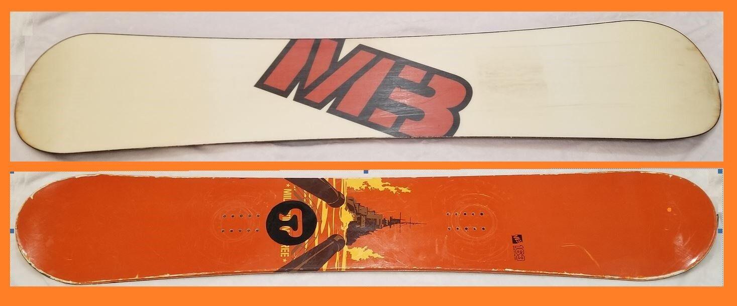 Vintage RARE orange Cannons Ship White M3 Logo Millennium Three 163 cm SNOWBOARD