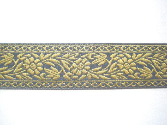 Jacquardborte Ranken Blaugrau Gold BO-J3-1481