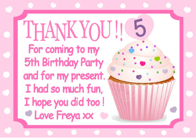 Personalised Girls Cupcake Thank you cards x 10 So pretty