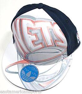 26965e91512 Brooklyn Nets NBA Adidas Flat Visor Hat Cap Artwork FITMAX 70 Flex ...