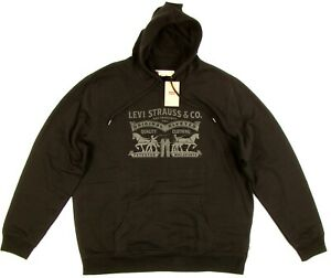 Levi/'s Mens Solid Black Red Logo Pullover Hoodie Sweatshirt Size XL NWT