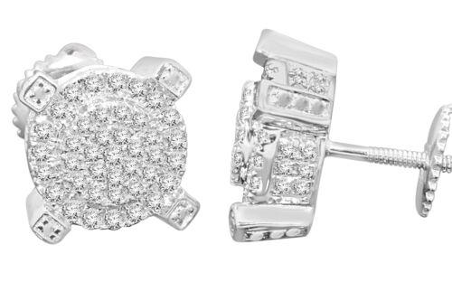 10K WHITE GOLD .56 CARAT MENS WOMENS 9mm 100/% REAL DIAMONDS EARRINGS STUDS