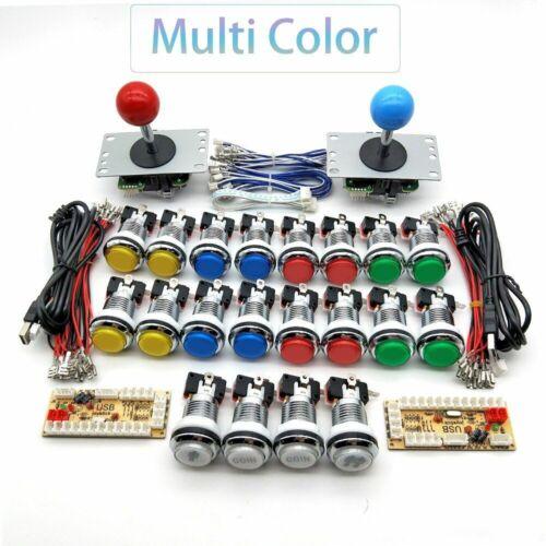 Zero Delay Encoder Arcade Cabinet DIY 5V LED Chrome Push Button Sanwa Joystick