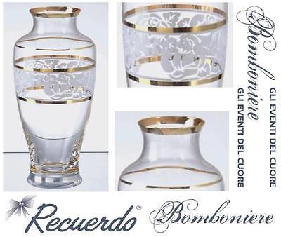 BOMBONIERA Made in Italy PORTACANDELE in CRISTALLO INCISO e ORO ZECCHINO PR4864
