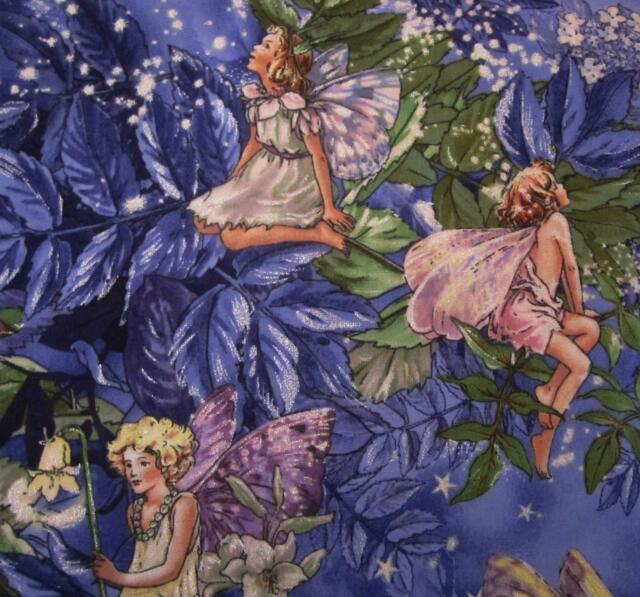 """NIGHT FAIRIES"" BLUE PURPLE w/ SPARKLE~CICELY MARY BARKER ESTATE~FAT 1/4"