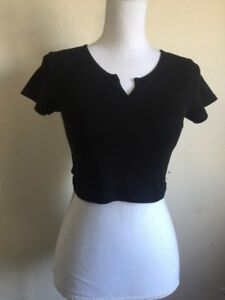 New-brandy-melville-black-v-notch-crop-cotton-Maggie-top-NWT-XS-S