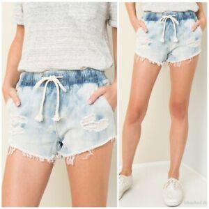S elastica sfilacciati con di Casual lavata M Vita Pantaloncini coulisse L coulisse jeans imbiancata con Aw7vTU