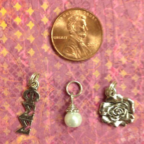 Phi Sigma Sigma Greek Sorority Charm Set FREE SHIPPING lavaliere, rose, pearl