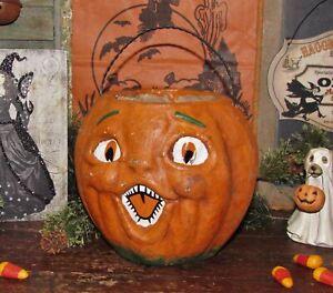 Primitive-Antique-Vtg-Paper-Mache-Style-Halloween-Jack-O-Lantern-Pumpkin-Bucket