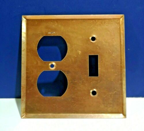 VINTAGE Antique Copper Finish 2-Gang Toggle /& Receptacle WALL PLATE SP224C NEW