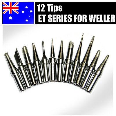 12PCs Solder Soldering Rework Station Iron Tips for Weller WES51 WESD51 PES51 AU