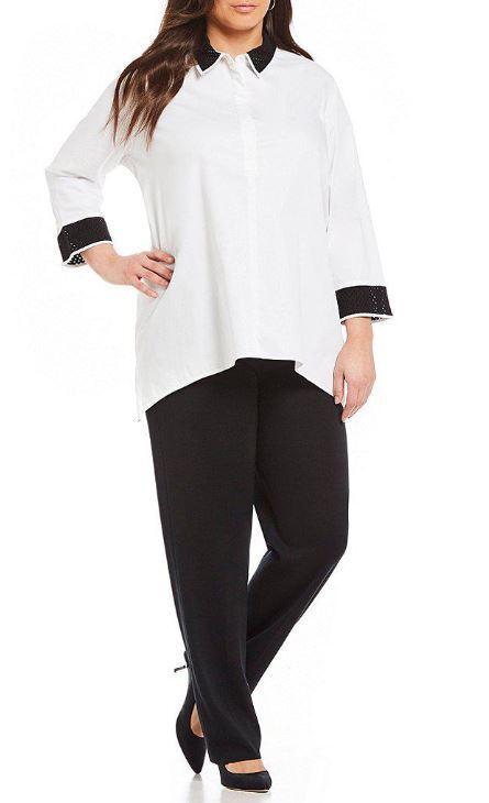 Ming Wang schwarz Weiß Contrast Collar Cotton Button Front Tunic Shirt 1X, 2X, 3X