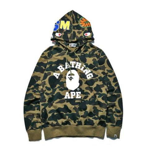 Mens Bape A Bathing Ape Full Zip Shark Head Camo Hoodie Coat Sweatshirt Jacket