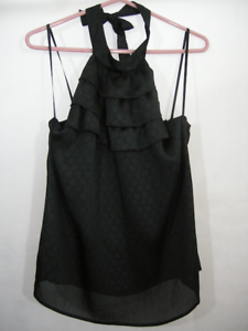 Halter-Top-Black-Polka-Dots-Sheer-Ruffles-Blouse-Shirt-Tie-NWT-Alyx-Womans-L