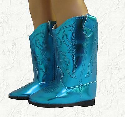 Doll Clothes Boots Cowboy Shiny Teal fit 18 inch American Girl