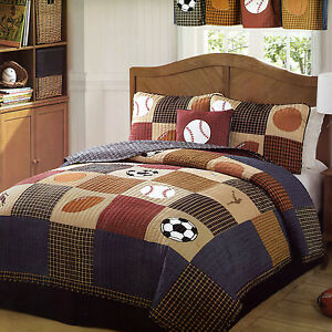CLASSIC SPORTS Full Queen QUILT SET : BOYS STATE FOOTBALL BASEBALL ... : quilts for boys beds - Adamdwight.com