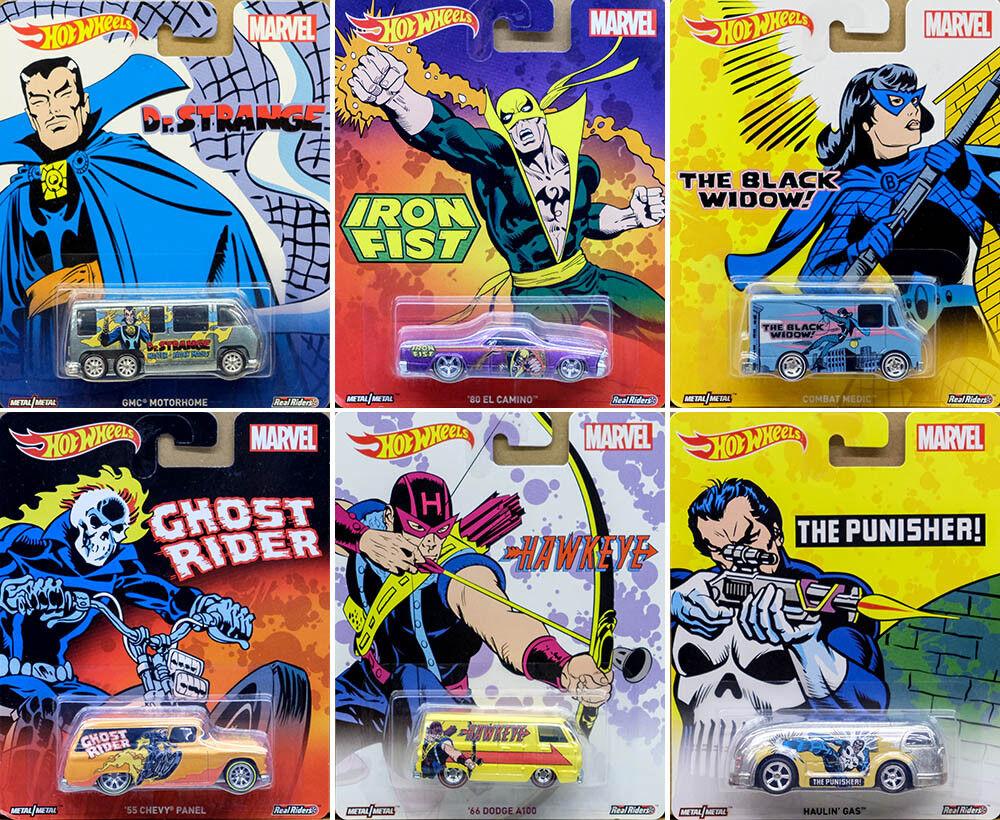 Marvel car set (6 modelo modelo modelo coches) Pop Culture en 1 64 Hot Wheels dlb45 6c888e