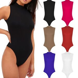 Womens-Ladies-Sleeveless-Polo-Turtle-High-Neck-Bodysuit-Leotard-Plain-Stretch