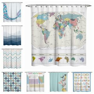 Details about Fabric Shower Curtain Cat World Map Mermaid Bathroom Teal  Blue White 72x72\'\'