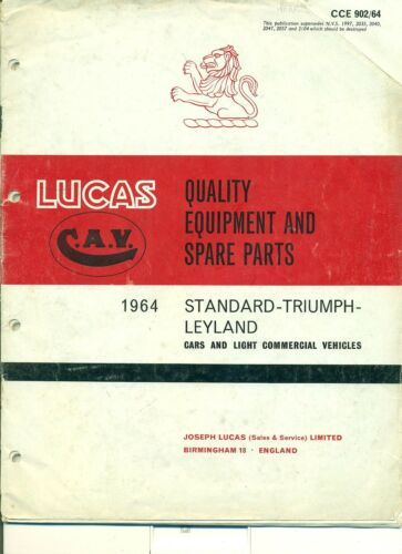 LUCAS PARTS CATALOGUE FOR 1964 STANDARD /& TRIUMPH CARS