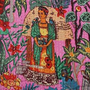 Indien-baby-quilt-kantha-handmade-printed-bedcover-bedding-bedspread-throw