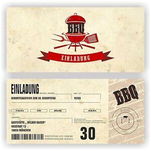 Das Bild Wird Geladen Einladung Geburtstag BBQ Grillen Grillparty  Einladungskarten Vintage Retro
