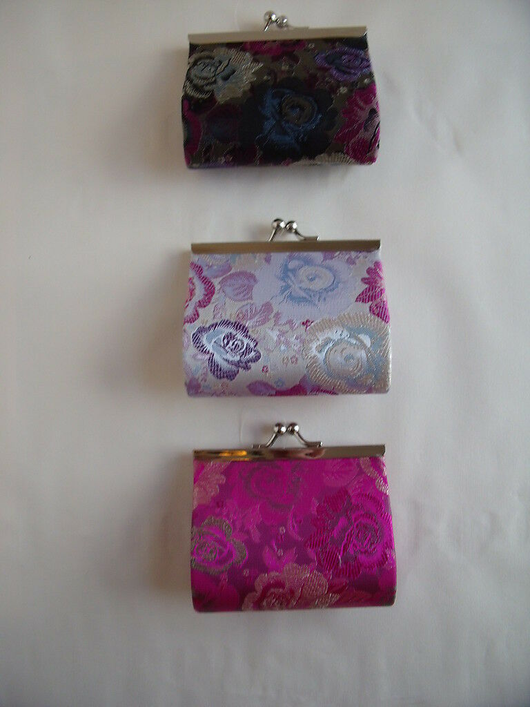 New Silk Rose Kisslock Clasp Purse available in Pink or Black or Silver/Grey