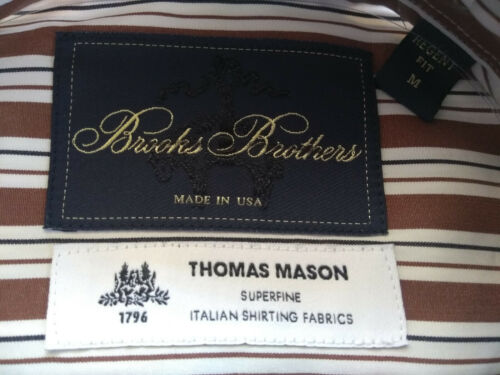 NWOT Brooks Brothers Golden Fleece Brown Stripe Regent Fit Button Down MSRP $225