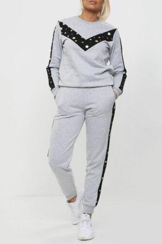 Mujer Manga Larga Estrellas Impreso Boxy Chándal Damas Top Parte inferior Loungewear Set