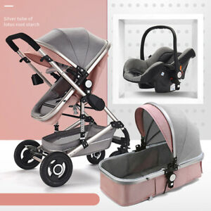 3f2bb64a5 Baby Pram Newborn Buggy 3 in 1 Car Seat Carrycot Combi Travel System ...