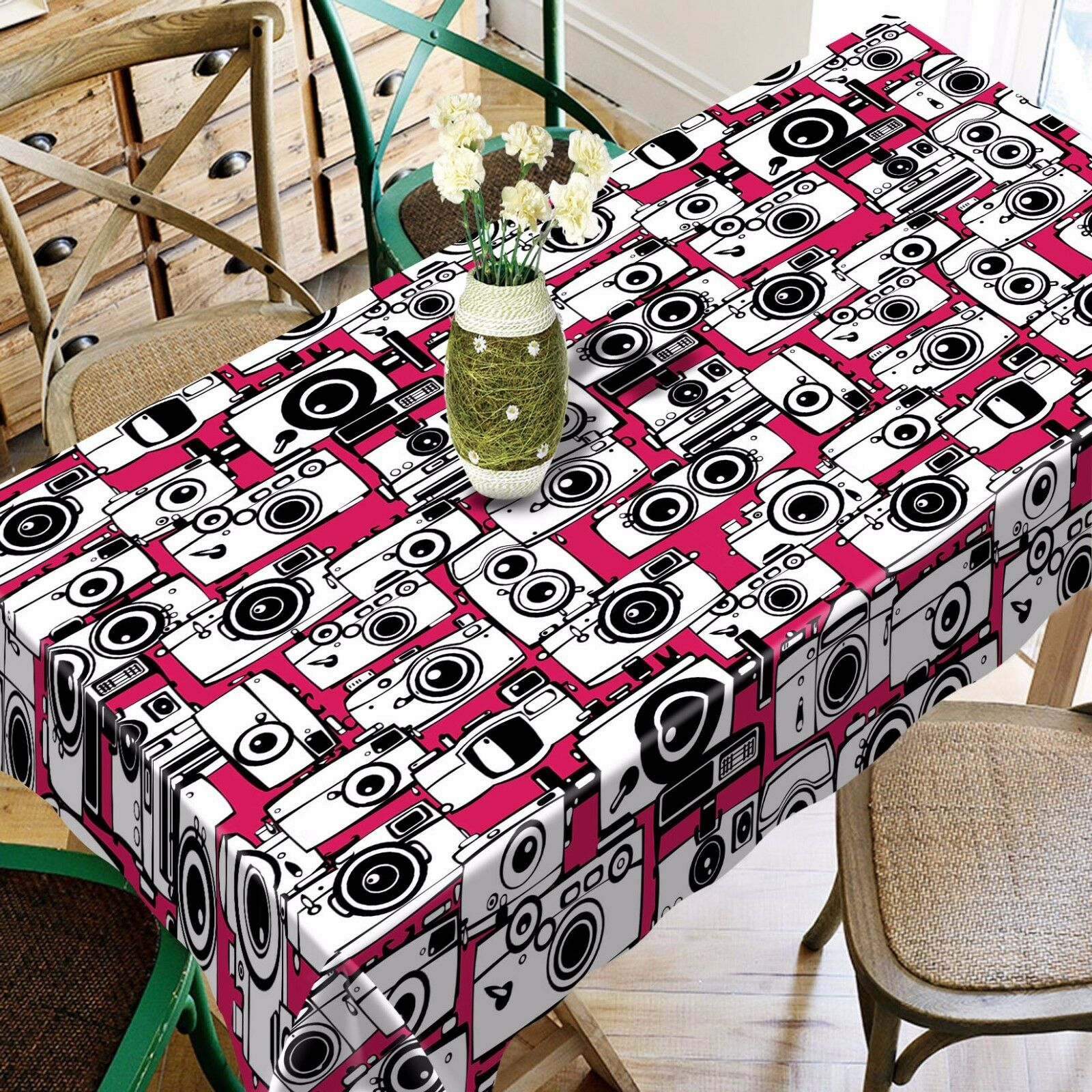 3D Camera Pattern Tablecloth Table Cover Cloth Birthday Party Event AJ WALLPAPER