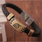 NEW Leather Cosplay PU Bracelet Leaf Mark Fan Wristband Bangle