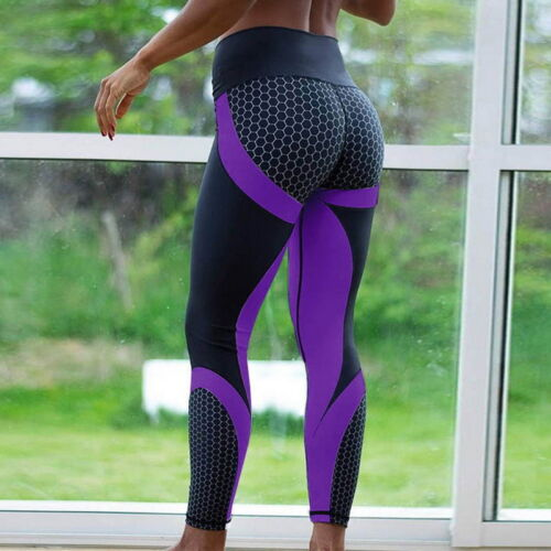 Damen Fitnesshose Sport Stretch Leggings Yogahose Yoga Gym Jogginghose Leggins