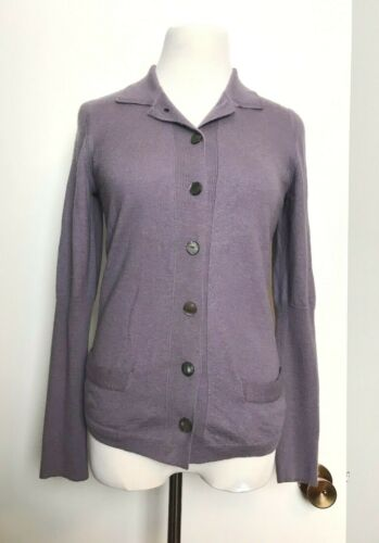 HERMES Italy Women's Lilac Cashmere Button Up SWEA
