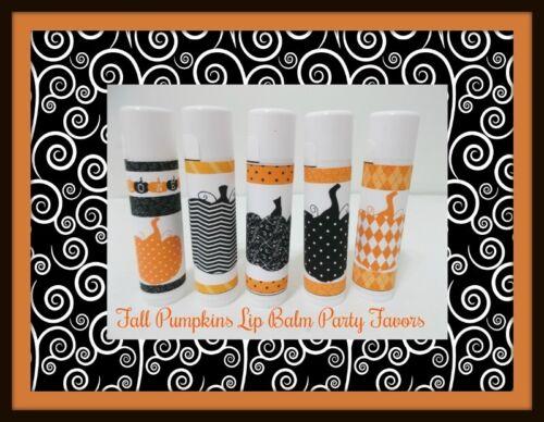 Free Personalization Stylish Pumpkins Fall Lip Balm Party Favors Set of 20