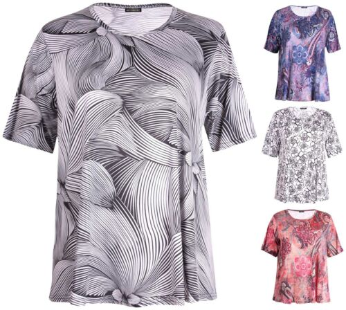 Womens Plus Size Top Short Sleeve Printed Round Neck Ladies Stretch Long T-Shirt