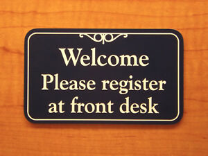 Engraved 4x6 Register At Front Desk Sign Plaque Office Business Rh Ebay Com Front  Desk Sign In Products Front Desk Sign In App